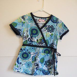 Women's Lot Of 3 Short Sleeve Printed Scrub Top XS